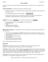 Statistics Course Outline - Point Pleasant Beach