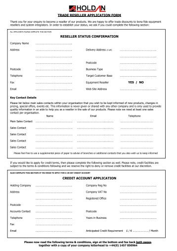 trade reseller application form reseller status ... - Holdan.eu