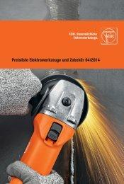 Preisliste Elektrowerkzeuge und Zubehör 04/2014