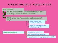 """""""IN3B"""" PROJECT: OBJECTIVES - saasta"""