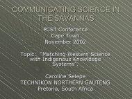 COMMUNICATING SCIENCE IN THE SAVANNAS - saasta
