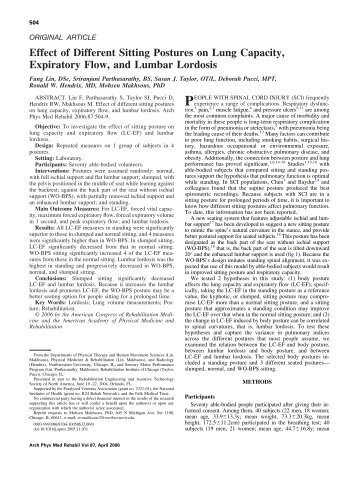 Effect of Different Sitting Postures on Lung Capacity, Expiratory Flow ...