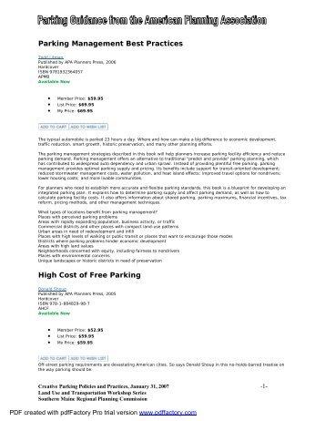Parking Management Best Practices Handout 1 - Southern Maine ...