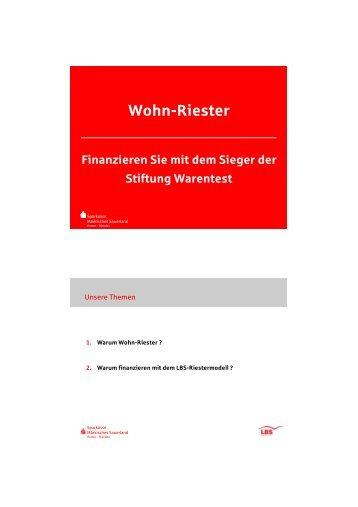 Wohnriester - Finanzieren mit dem Testsieger von Stiftung Warentest