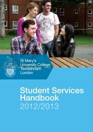 Student Services Handbook 2012/2013 - St Mary's University College