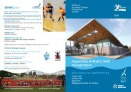 Supporting St Mary's Staff through Sport - St Mary's University College