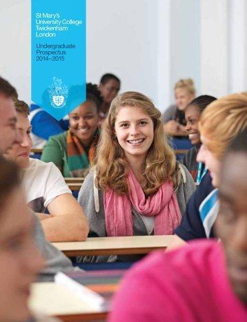 2014-15 Undergraduate Prospectus - St Mary's University College