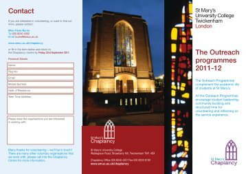 The Outreach Programmes - St Mary's University College