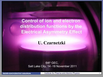 Control of ion and electron distribution functions by the Electrical ...