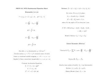 Physics 3A/3B: Formulae and constants sheet