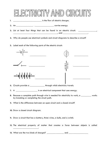 PS-6.8 - Electricity Worksheet - For Review