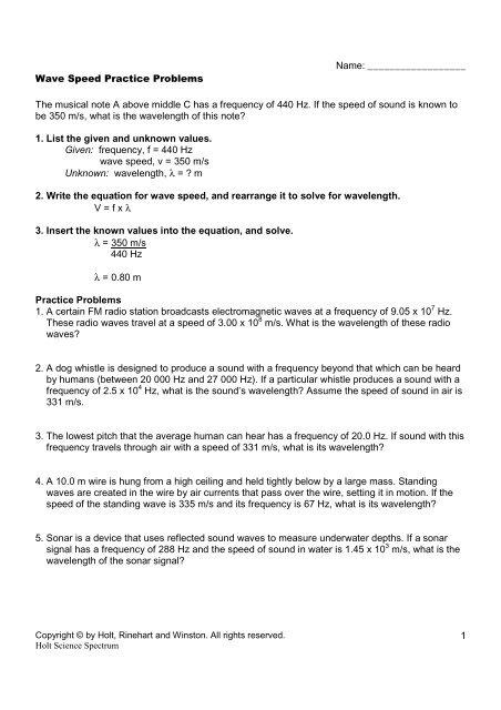 PS-7 4 - Wave Speed Practice Problems - Science Spectrum