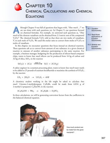Chapter 10 - An Introduction to Chemistry: Chemical Calculations ...