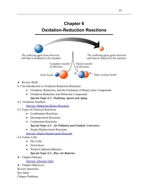 Chapter 6 Oxidation-Reduction Reactions - An Introduction to