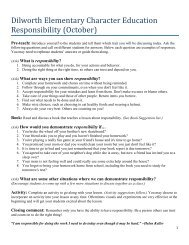 Dilworth Elementary Character Education Responsibility (October)