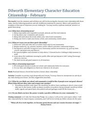 Dilworth Elementary Character Education Citizenship -‐ February