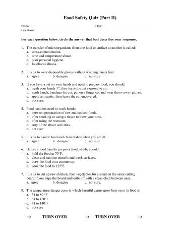 Food Safety Quiz (Part II) âu2020u0027 âu2020u0027  Food Safety Quiz