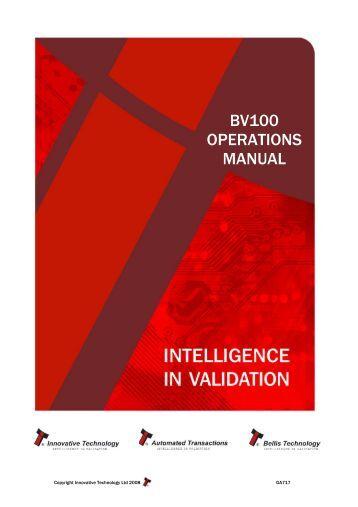 BV100 OPERATIONS MANUAL