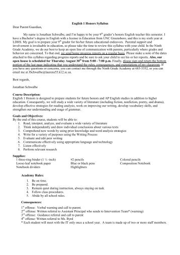 English I Honors Syllabus Fall 12 - Laurens County School District 55