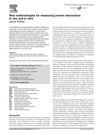 New methodologies for measuring protein ... - Fachbereich 5 Biologie