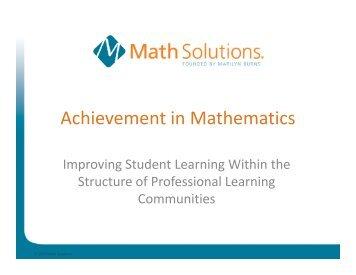 Achievement in Mathematics - Math Solutions