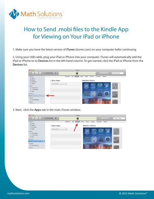 How to Send  mobi files to the Kindle App for     - Math