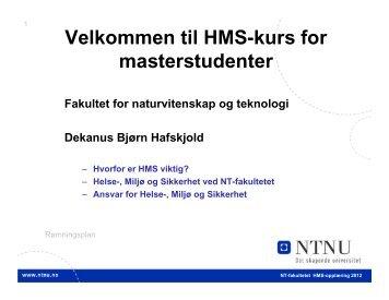 HMS - Fakultet for naturvitenskap og teknologi - NTNU