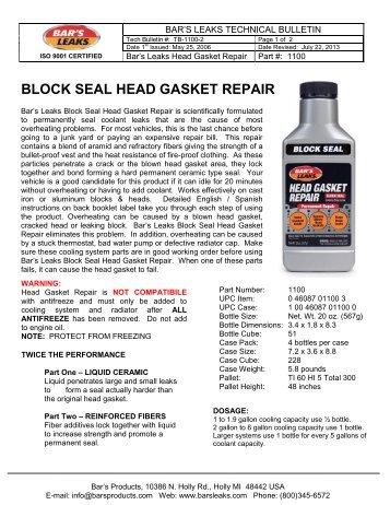 BLOCK SEAL HEAD GASKET REPAIR - Bar's Leaks & Rislone