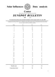 SUNSPOT BULLETIN BULLETIN - Solar Influences Data Center