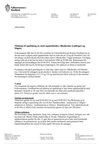 Vedtak fra Fylkesmannen i Nordland - Fiskeridirektoratet