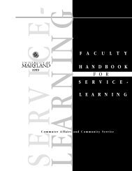 University of Maryland Faculty Handbook for Service-Learning