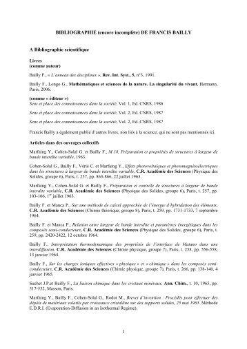 1 BIBLIOGRAPHIE (encore incomplète) DE FRANCIS ... - SNCS