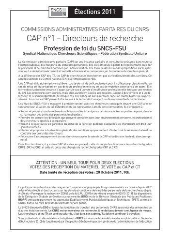 CAP n°1 – Directeurs de recherche - SNCS
