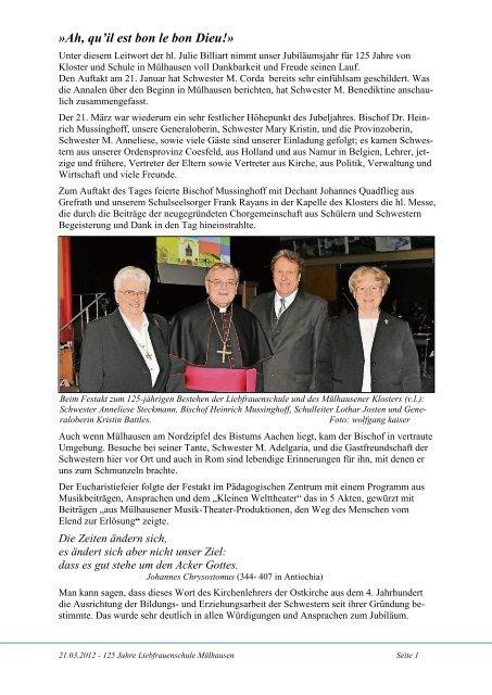 Der vollständige Bericht befindet sich hier - Schwestern Unserer ...