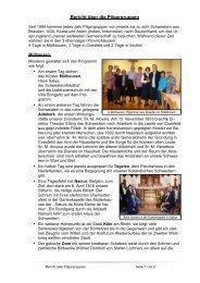 Bericht über die Pilgergruppen - Schwestern Unserer Lieben Frau