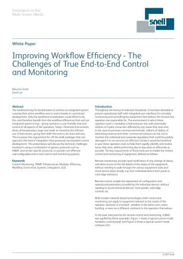 Improving Workflow Efficiency - The Challenges of True End ... - Snell