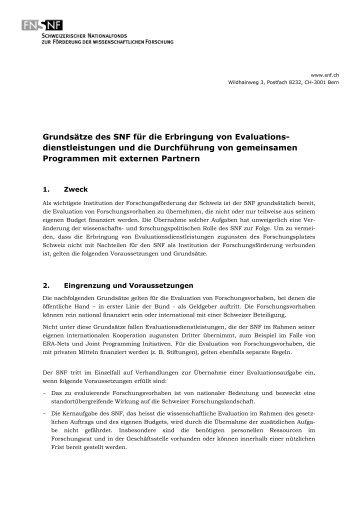 Grundsätze des SNF für die Erbringung von ...