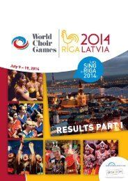 World Choir Games 2014 - Results PART I