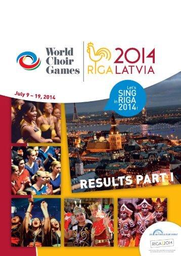 World Choir Games 2014 - Results PART I