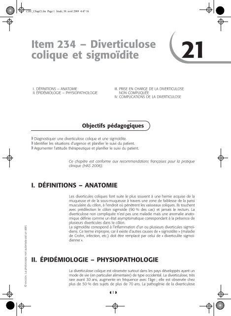 Item 234 – Diverticulose colique et sigmoïdite D - SNFGE