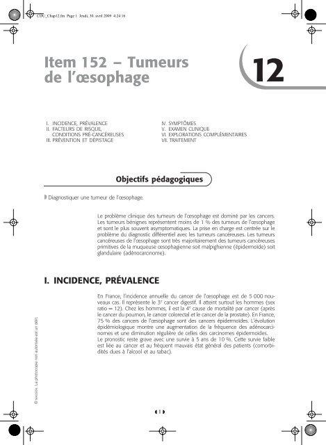 Item 152 – Tumeurs de l'œsophage T - SNFGE