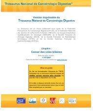 Cancer des voies biliaires - SNFGE