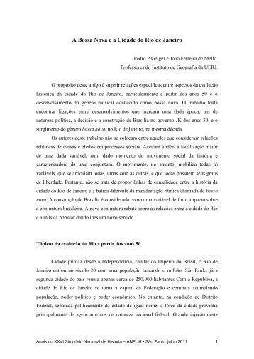 A Bossa Nova e a Cidade do Rio de Janeiro - XXVI Simpósio ...