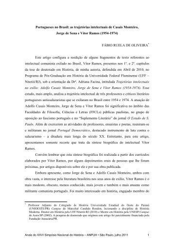 Portugueses no Brasil: as trajetórias intelectuais de Casais Monteiro ...