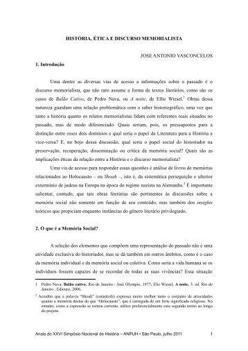 HISTÓRIA, ÉTICA E DISCURSO MEMORIALISTA JOSE ANTONIO ...