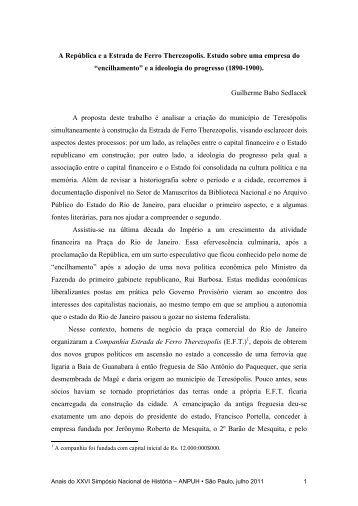 A República e a Estrada de Ferro Therezopolis. Estudo sobre uma ...