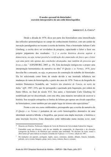 Arrisete Cleide de Lemos Costa - XXVI Simpósio Nacional de História