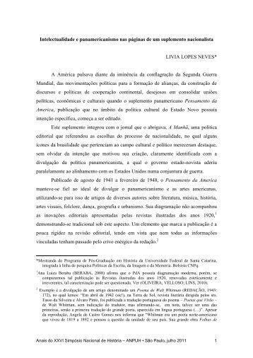 Intelectualidade e panamericanismo nas páginas de um ...