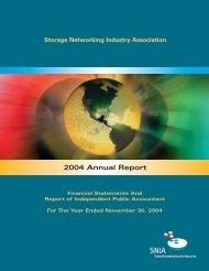 SNIA Annual Report 2004