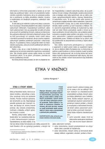 Etika v knižnici - Slovenská národná knižnica